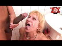 Hot Mature mom gets her cunt fingered in the mens restroom