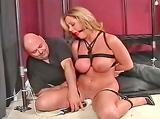 blonde, milf, chubby, gag, natural big tits, master