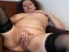 Alexandra - brunette, fingering, stockings, busty, fatty, solo girl