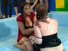 blonde, brunette, chubby, clothed, catfight, wrestling, naked