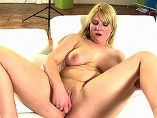 Marcy - big ass, blonde, chubby, toys, high heels, natural big tits, solo girl